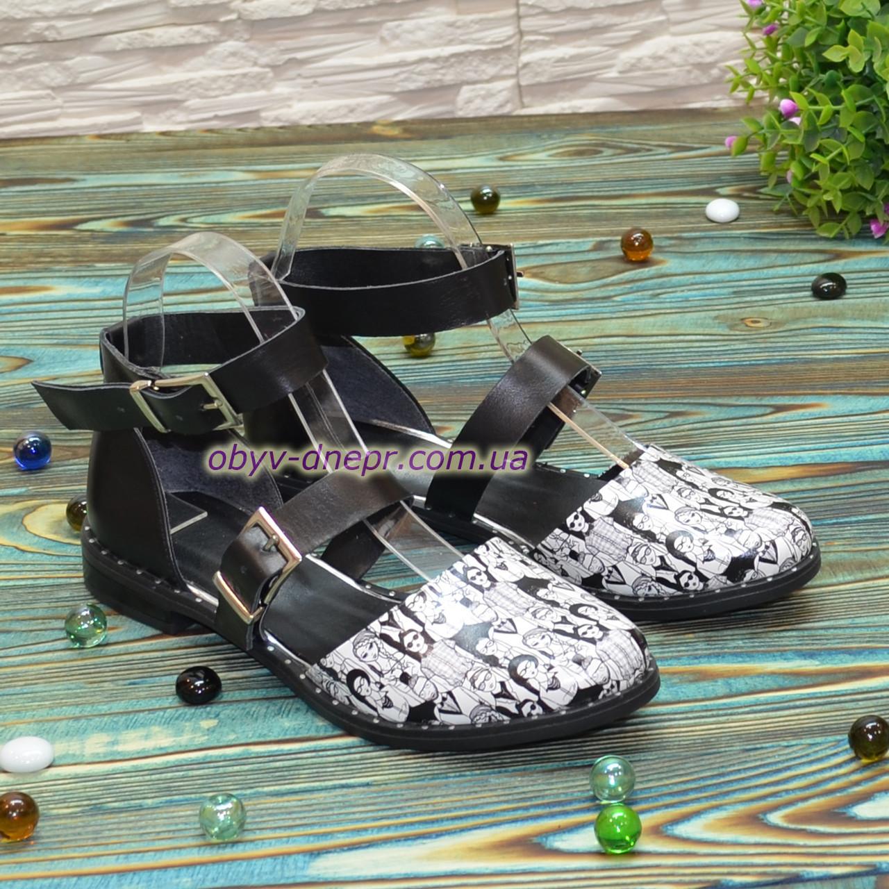 Туфлі жіночі шкіряні на низькому ходу, колір чорний