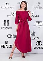 """Асимметричное хлопковое длинное платье """"Mavis"""" с оголенными плечами (2 цвета)"""