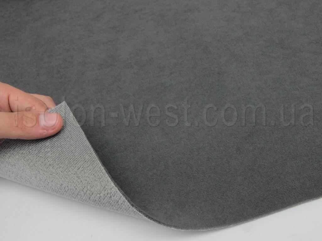 Ткань потолочная 6П темно-серая, автовелюр на поролоне с сеткой шир. 1.8м