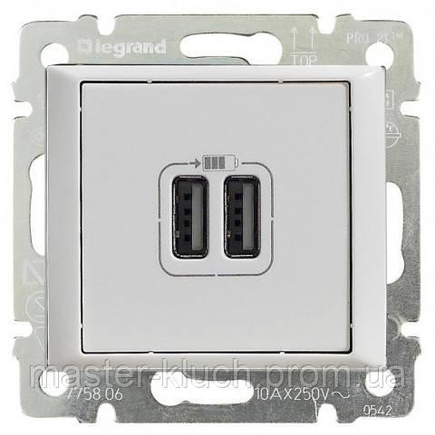 Розетка с USB-разъёмами двойная Legrand Valena Classic