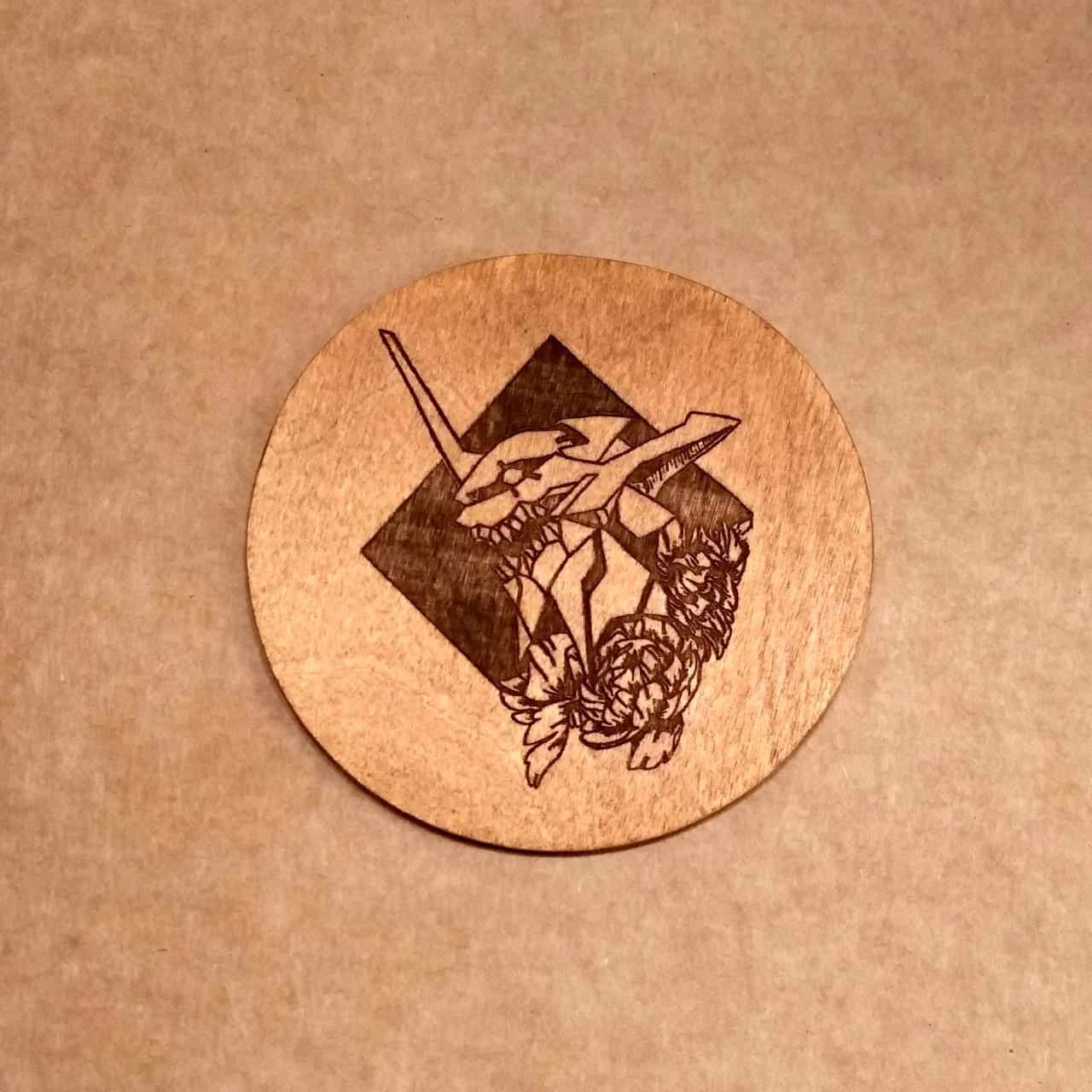 Костер деревянный. Подставка под кружку Евангелион.