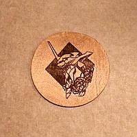 Подставка под кружку. Костер с лазерной гравировкой. Костер деревянный. Подставка под кружку Евангелион., фото 1