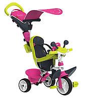 Детский металлический велосипед Беби Драйвер с козырьком и багажником, розово-зеленый  Smoby 741201