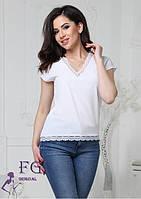 Жіноча біла блуза без рукав