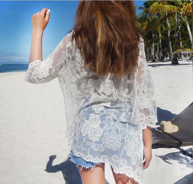 Солнцезащитная одежда кружевная накидка розы пляжная мода