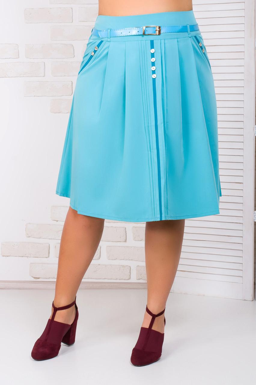 Женская летняя юбка с ремнем и карманами 48-54 р