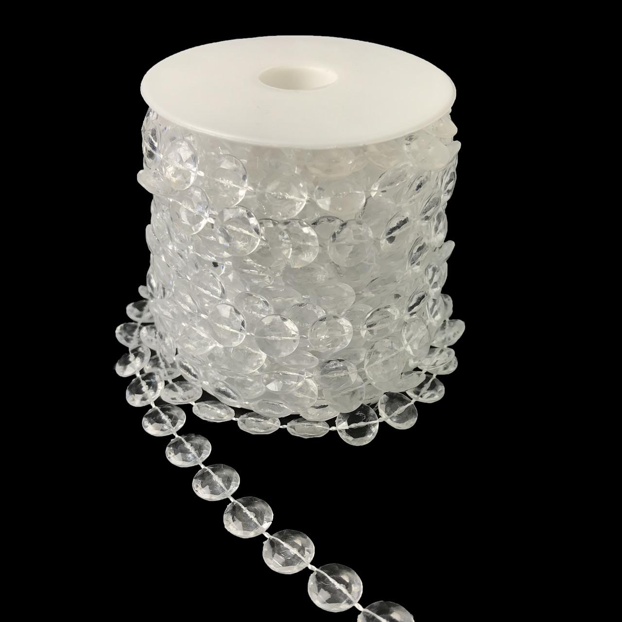 Бусины-кристаллы на нити прозрачные 10 м