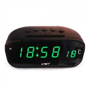 Часы сетевые 803-4 салатовые, с термометром, фото 2
