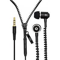 Наушники проводные на молнии Zipper Earphones черные | проводная гарнитура | наушники вкладыши