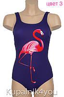 Купальник спортивный  синий   с фламинго