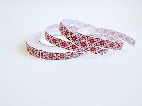 Лента репсовая 1,5 см вышивка красная