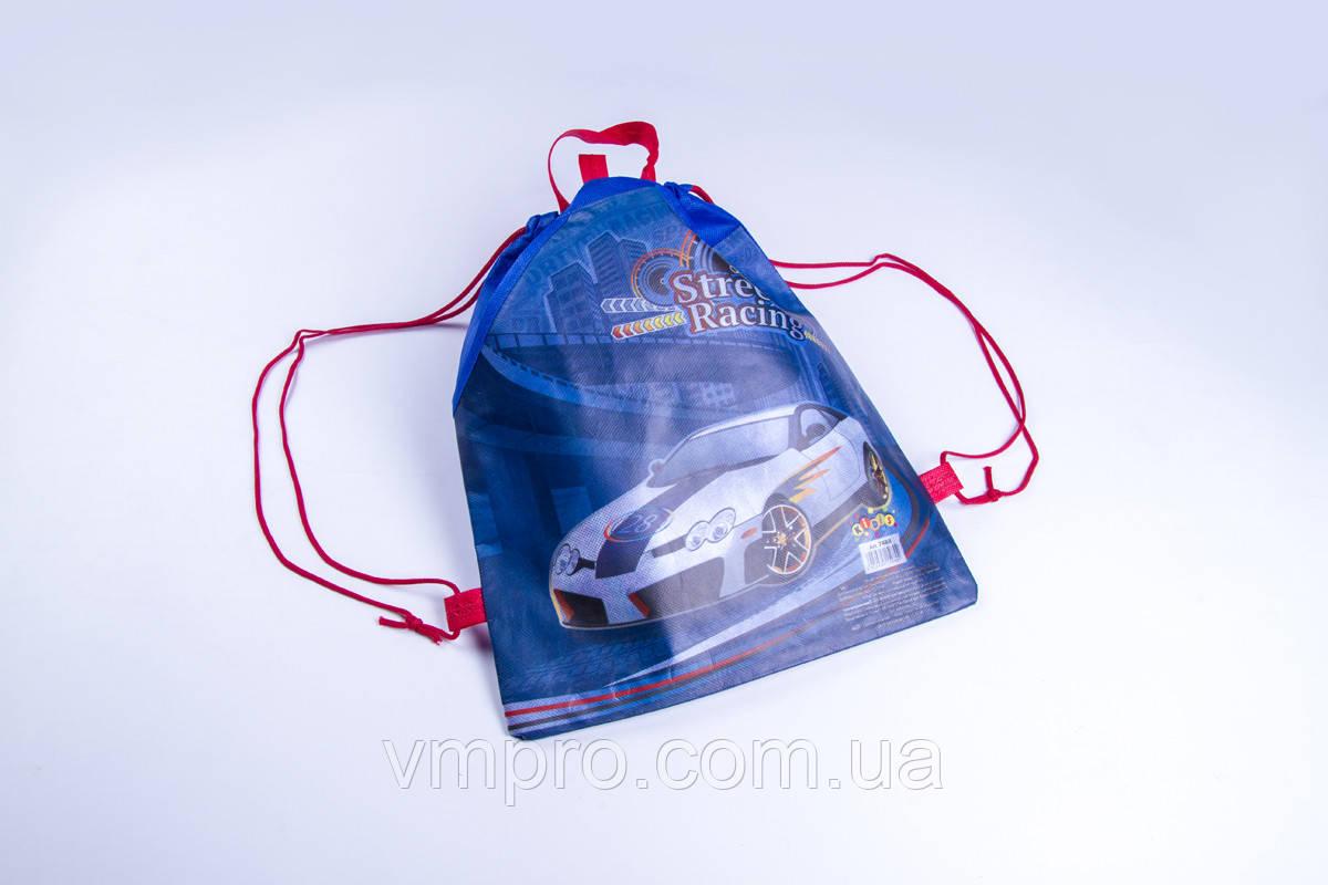 Сумка для сменной обуви с карманом 34×26 см., мешок для обуви текстиль Street racing