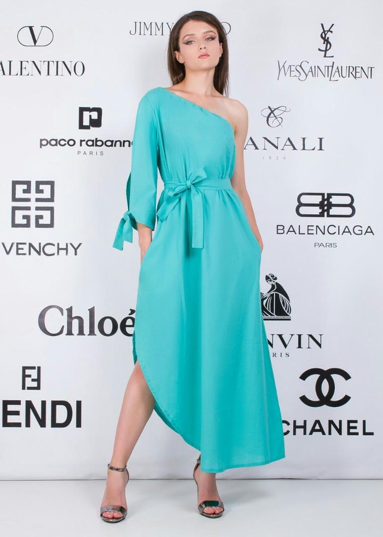 """Асимметричное хлопковое платье на одно плечо """"Nell"""" с поясом (2 цвета)"""