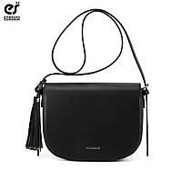 Полукруглая женская модная сумка черная с кисточкой ECOSUSI