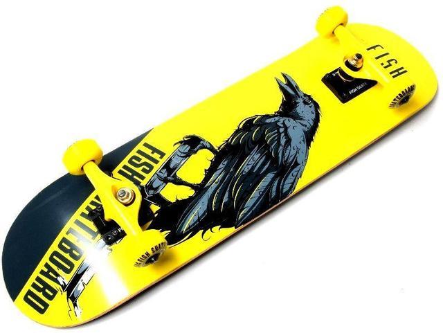 Скейт деревянный FISH Ворон, нагрузка до 90 кг. Польша!