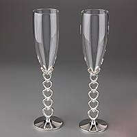 Свадебные бокалы высокого качества на металлической ножке
