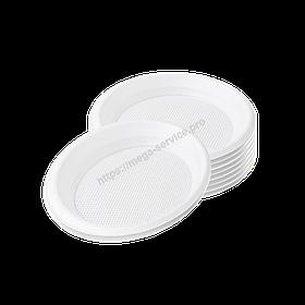 Тарілки одноразові пластикові білі d=165 мм 50шт/уп