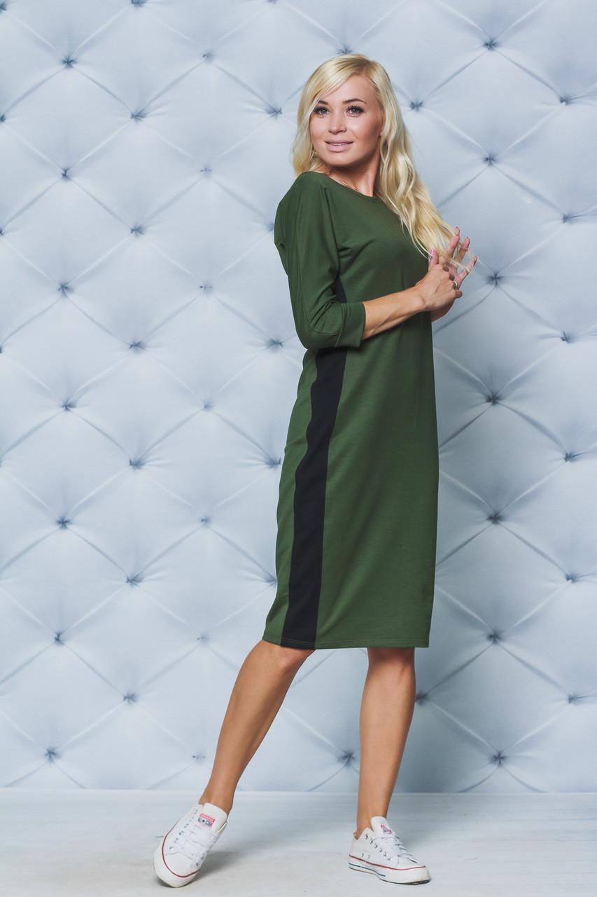 Платье женское с лампасом хаки