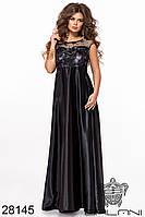 Платье вечернее атлас и гипюр в пол чёрное