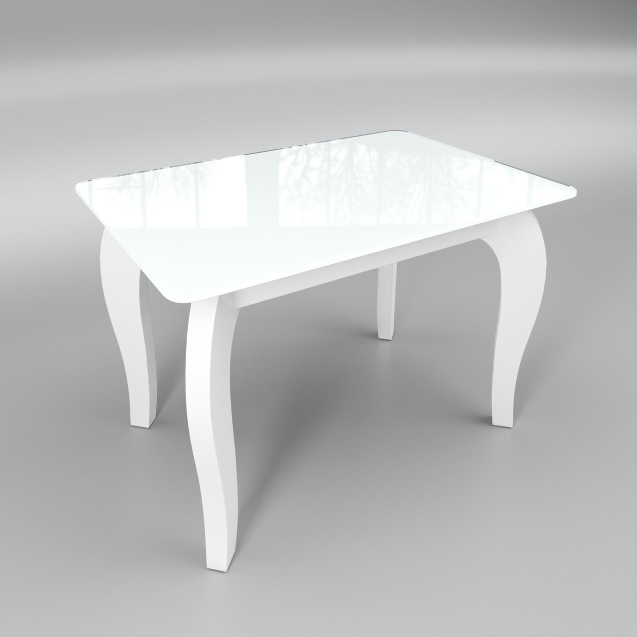 Стеклянный стол Император мини (журнальный) белый