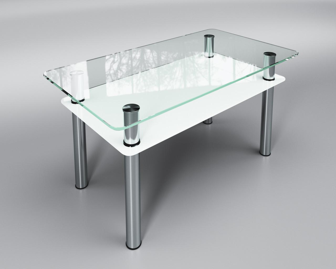 Стеклянный стол Вега с полкой (журнальный) белый