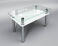 Стеклянный стол Вега с полкой (журнальный) белый, фото 1