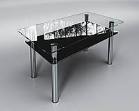 Стеклянный стол Вега с полкой (журнальный) черный, фото 1