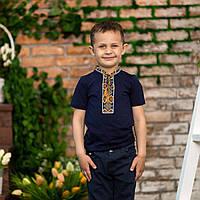 Вышиванка   футболка  синяя  для мальчика золотые ромбы, фото 1