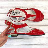 Босоножки кожаные  красные  Alian Curdas .Скидка