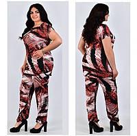 Женские летние костюмы батал, туника и штаны на резинке, фото 1