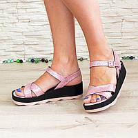 """Женские босоножки на платформе, розовый """"питон"""". 39 размер"""