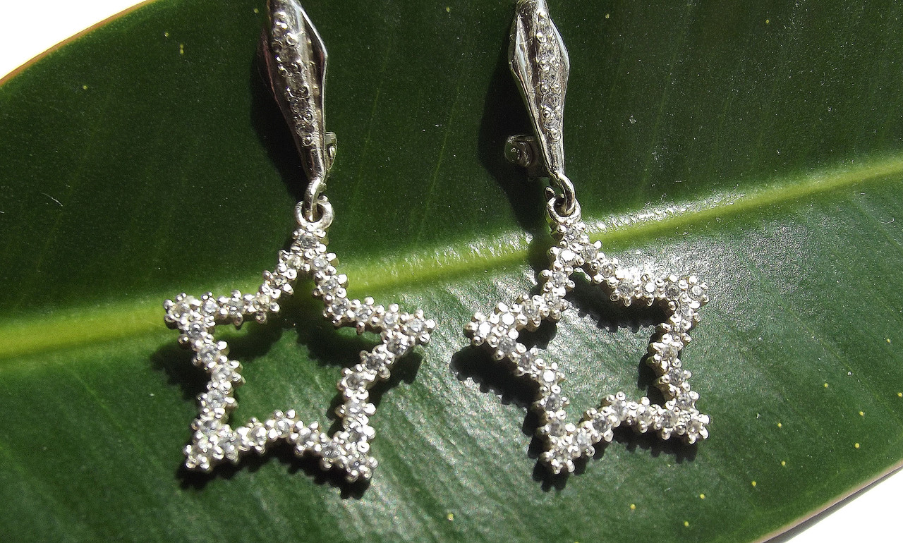 Серьги серебряные Две Звезды