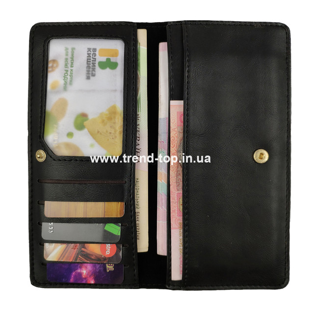 Женский тонкий кошелёк. Цвет чёрный.