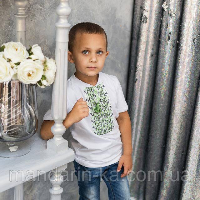 Вышиванка   футболка   для мальчика зеленые лилии