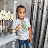 Вышиванка   футболка   для мальчика зеленые лилии, фото 1