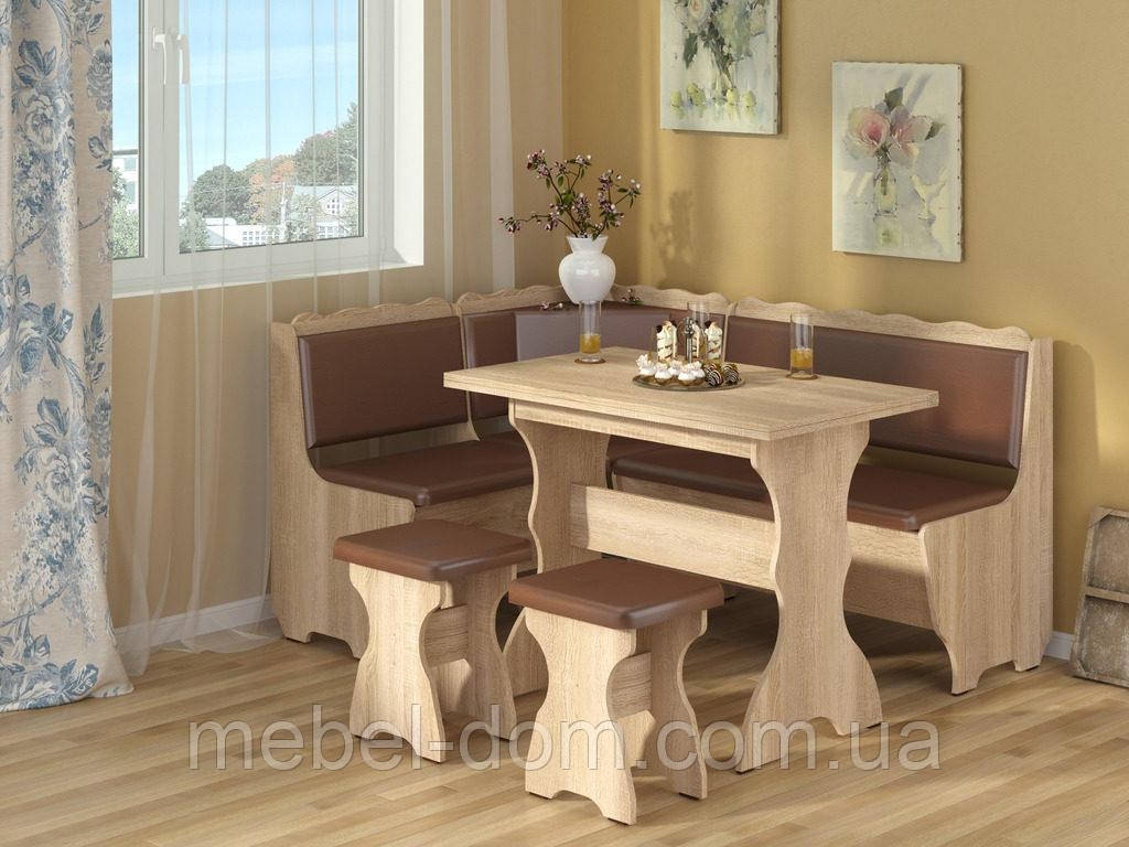 Кухонный уголок Граф с простым, раскладным столом