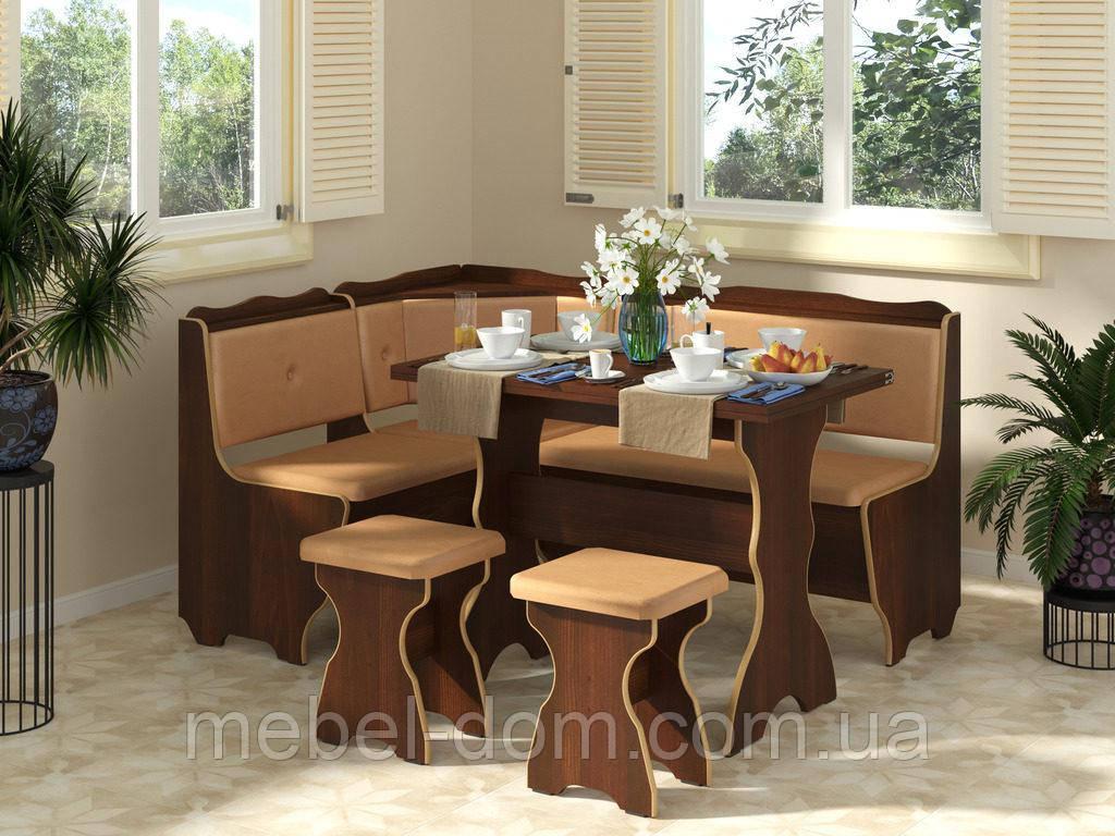 Кухонный уголок Фараон с простым, раскладным столом