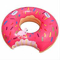 Надувной Круг для Плавания Розовый Пончик с Ручками