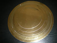 Подложка под торт круглая серебро/золото 360*360, фото 1