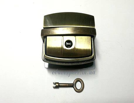 Замок сумочный, портфельный клавишный под ключик 44*43 мм Тертый антик, фото 2