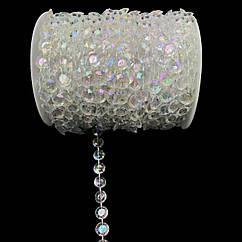 Бусины-кристаллы на нитке с перламутром 30 метров