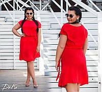 Женское легкое летнее платье №451 (р.50-56) красное, фото 1