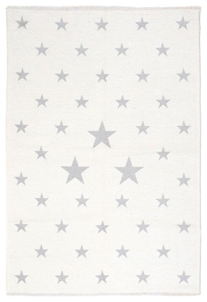 Ковер детский My Home Moretti Side двусторонний серый и белый Звезды