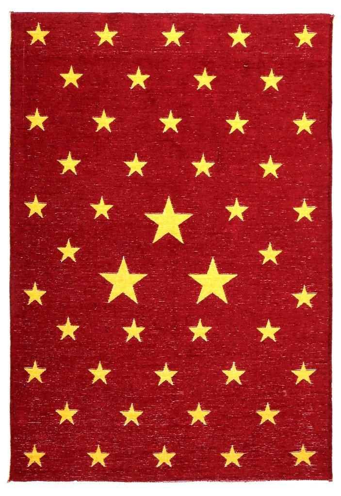 Ковер детский My Home Moretti Side двусторонний красный и желтый Звезды