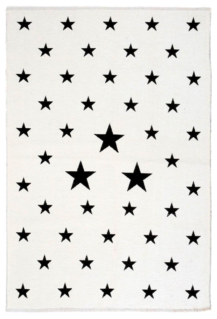 Ковер детский My Home Moretti Side двусторонний белый и черный Звезды