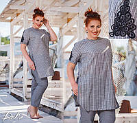 Женский летний брючный костюм с туникой в полоску №15203 (р.50-56) графит, фото 1