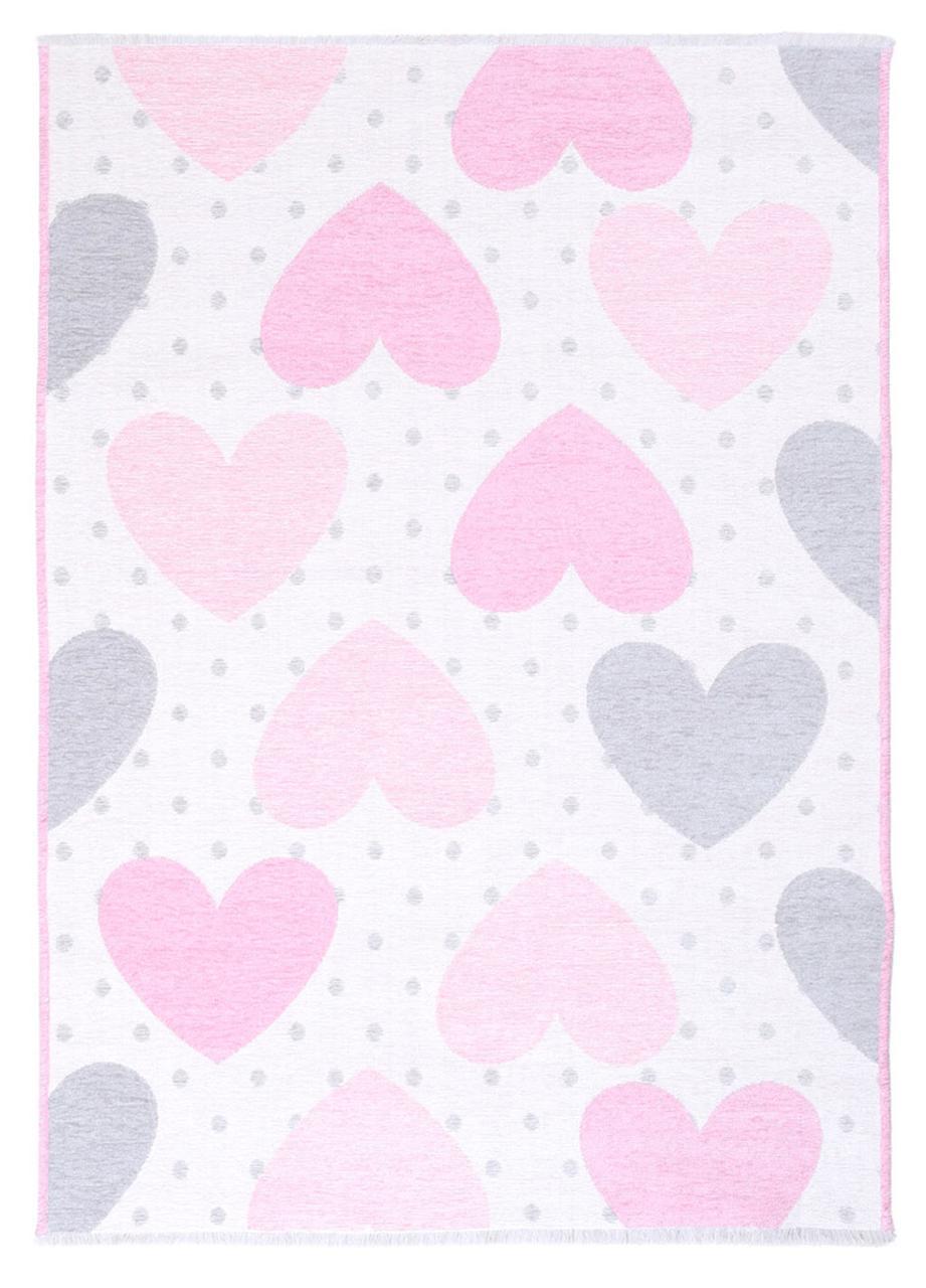 Ковер детский My Home Moretti Side двусторонний розовый и серый Сердце