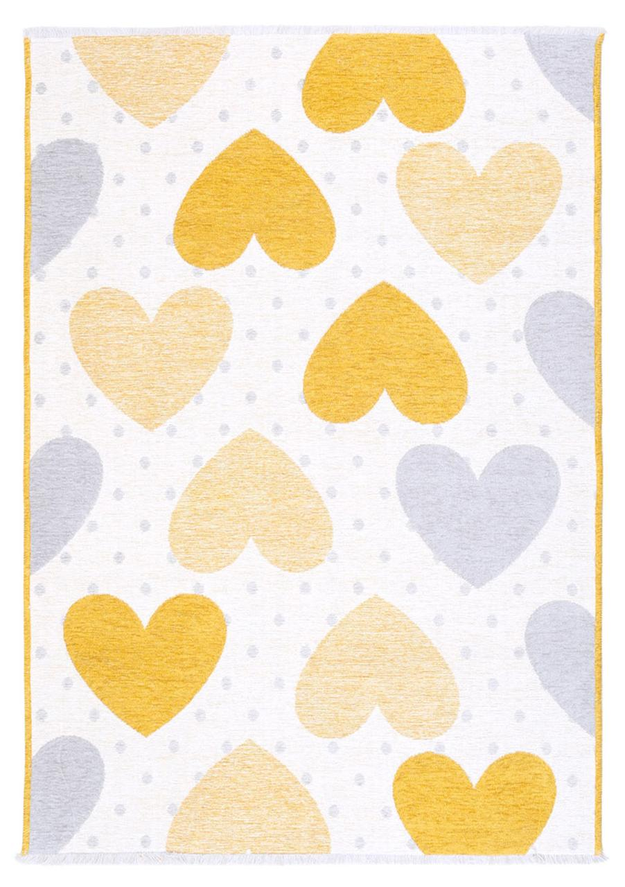 Ковер детский My Home Moretti Side двусторонний желтый и серый Сердце