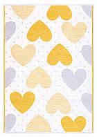 Ковер детский My Home Moretti Side двусторонний желтый и серый Сердце, фото 1
