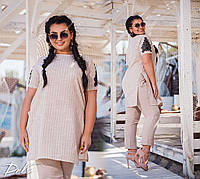 Женский летний брючный костюм с туникой в полоску №15203 (р.50-56) бежевый, фото 1